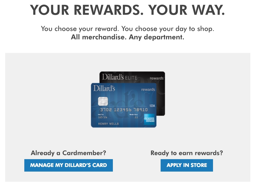 2f3b98f4e42 Dillard s offers two credit card options — a store card and an American  Express credit card. Both cards come with program benefits