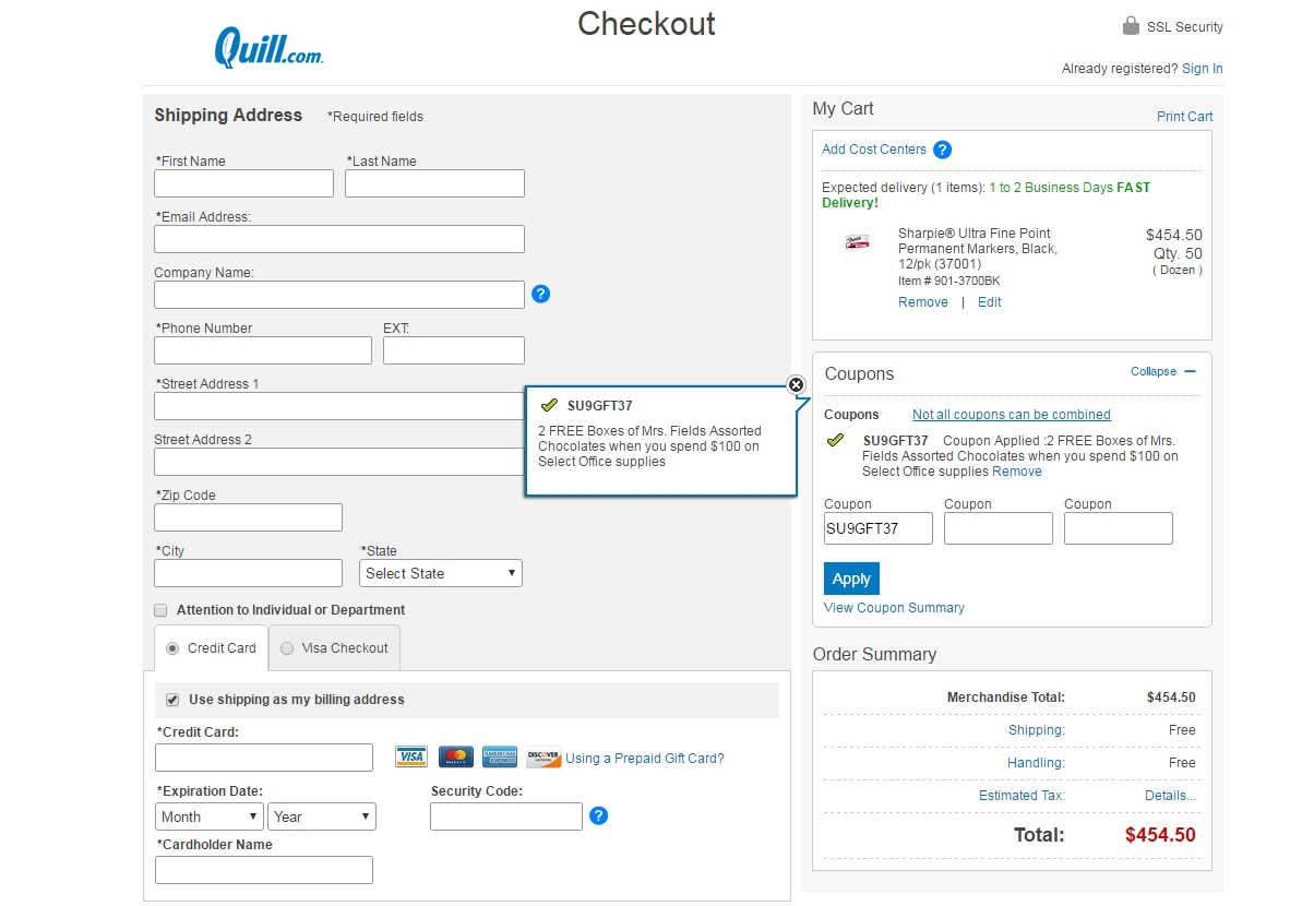 Quill mrs fields coupon codes