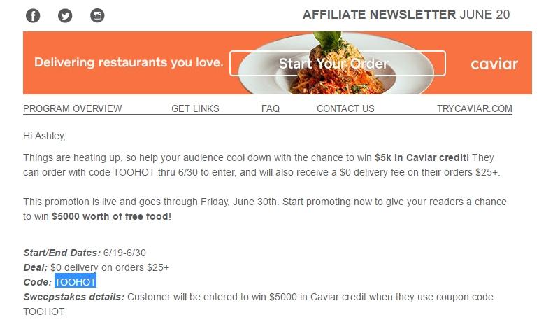 Caviar coupon code
