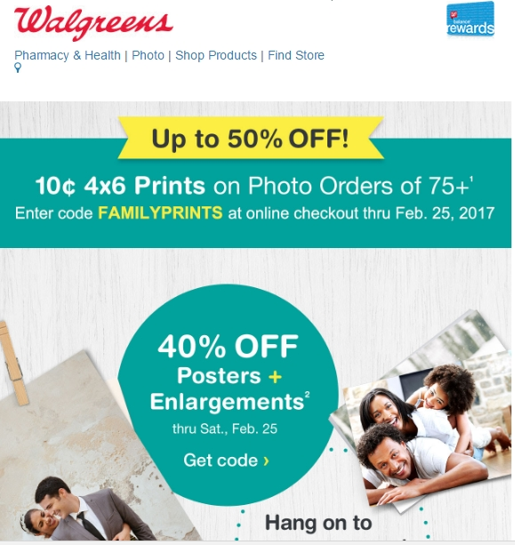 Walgreens coupon code canvas prints