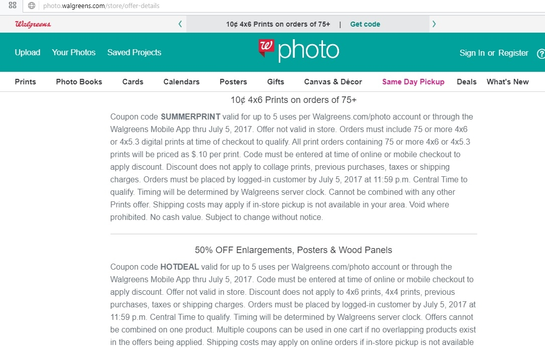 Walgreens photo coupon code 4x6 prints