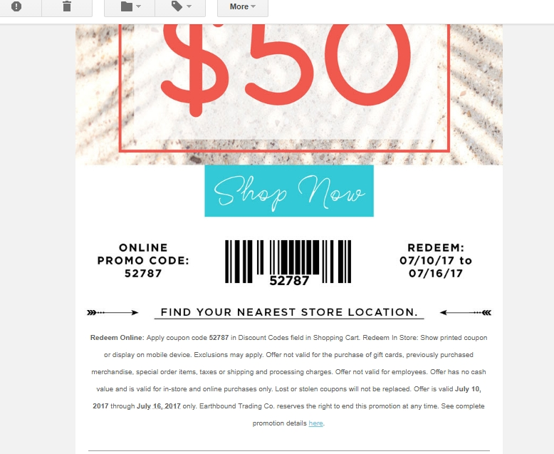 Earthbound trading company coupons