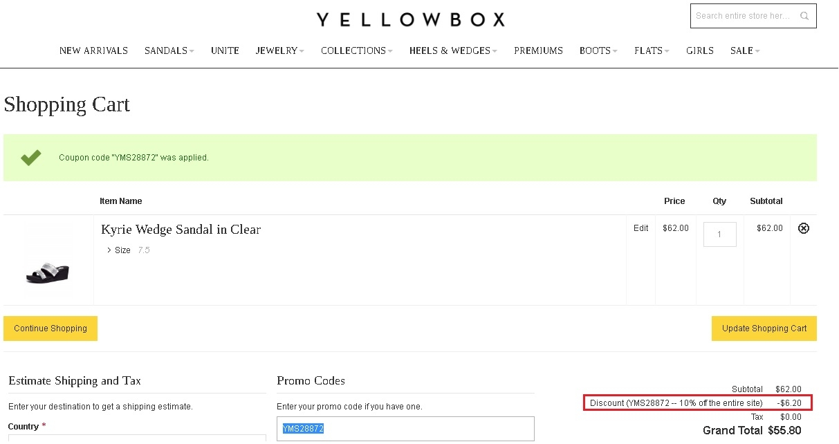 Yellow box shoes coupons