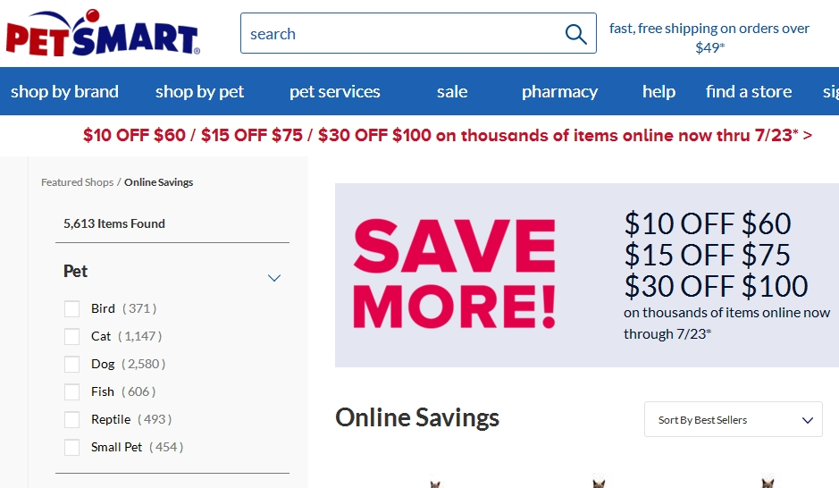 Petsmart coupon code $10.00 off