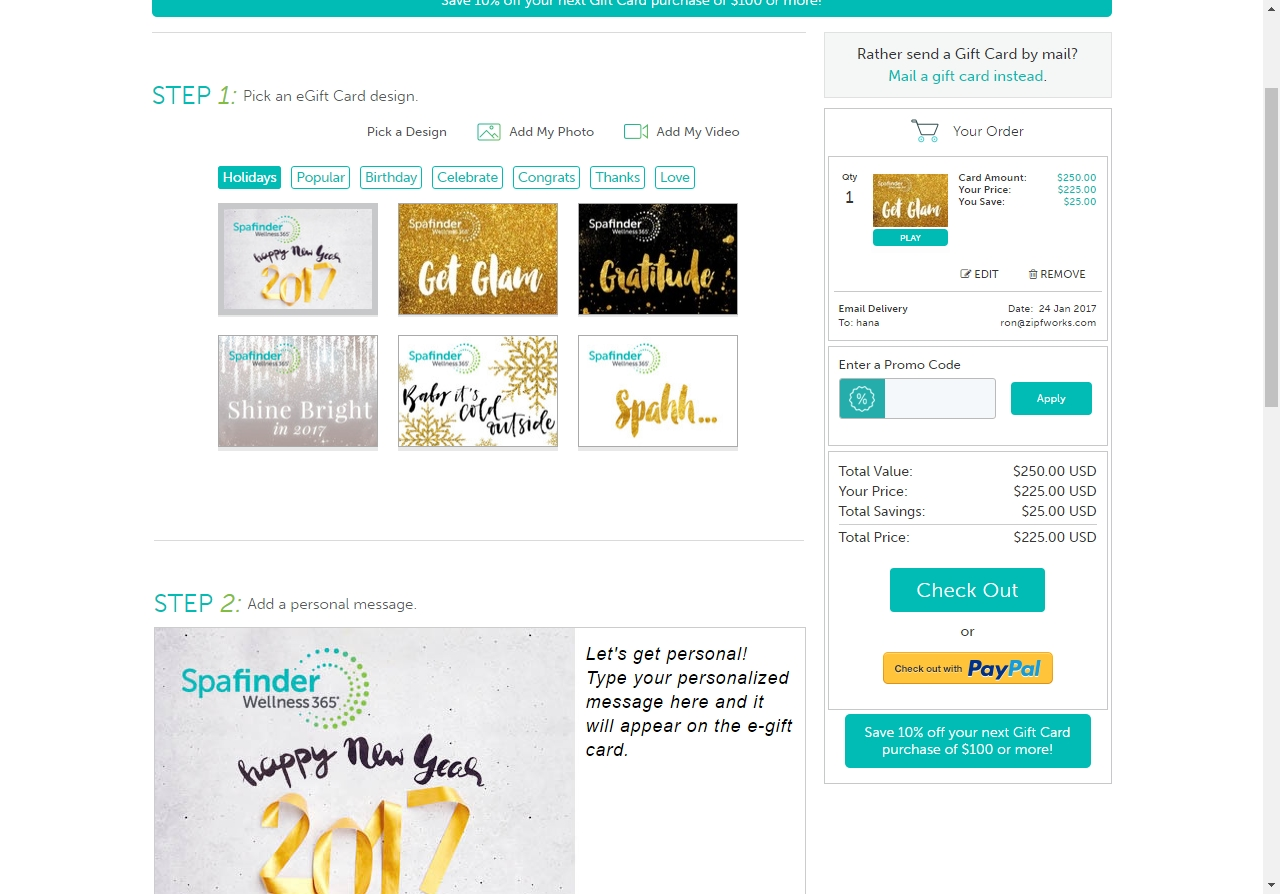 How to Use SpaFinder Coupons: Add an eGift card to your shopping cart and click