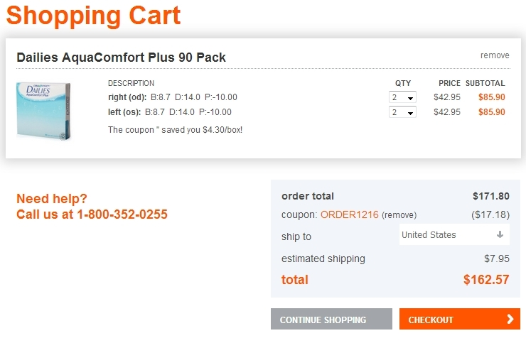 Coupon code for 1800contacts