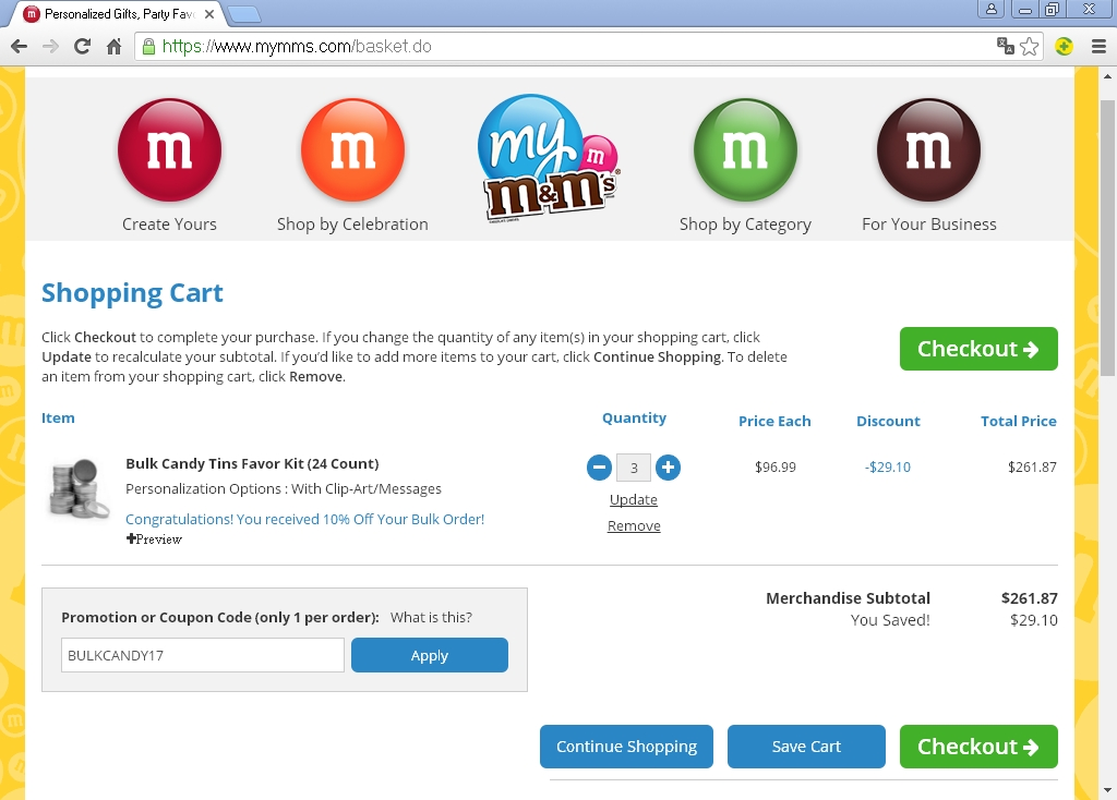 My M&M's is a popular chocolates retailer which operates the website ajaykumarchejarla.ml of today, we have 10 active My M&M's promo codes, 3 single-use codes, 1 sale and 1 third-party deal. The Dealspotr community last updated this page on October 4, On average, we launch 17 new My M&M's promo codes or coupons each month, with an average discount of 23% off and an average time to 5/5(6).