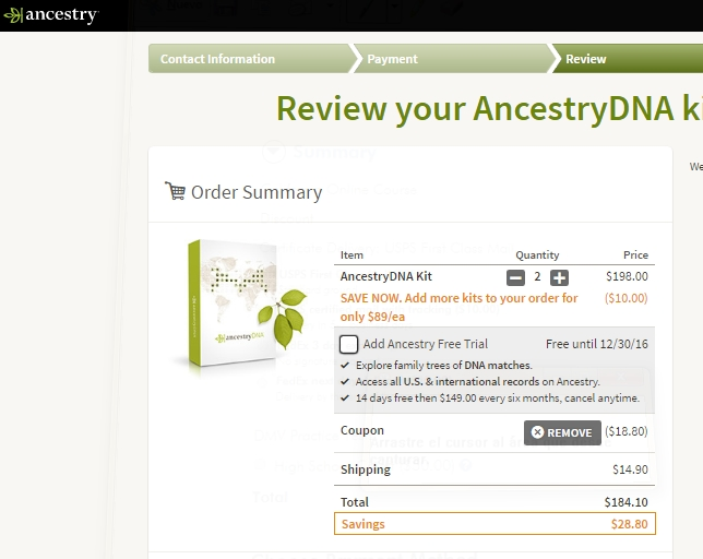 Ancestry.com dna test coupon code