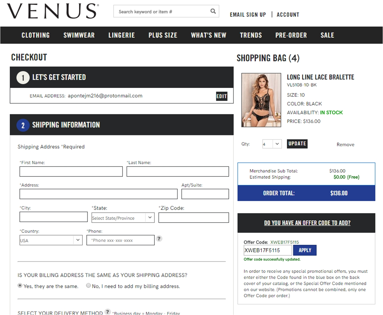 Venus coupon codes 20 off and $4.95 shipping