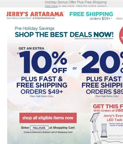 Jerry's artarama coupon code