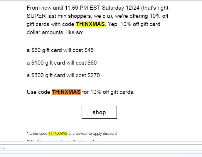 Thinx coupon code