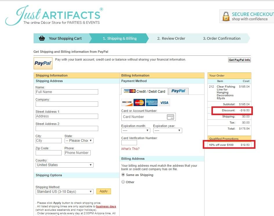 Just artifacts coupon code