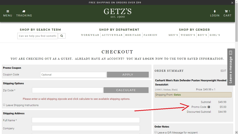 Getz coupon code