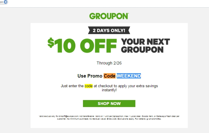 Groupon coupon code free shipping