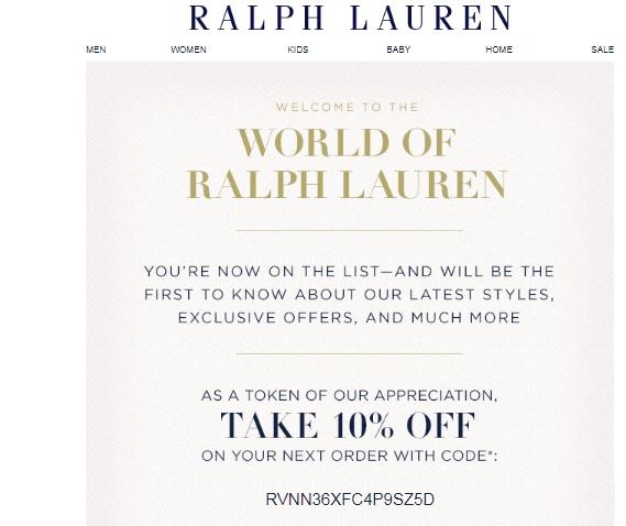 Ralph lauren coupon codes november 2018