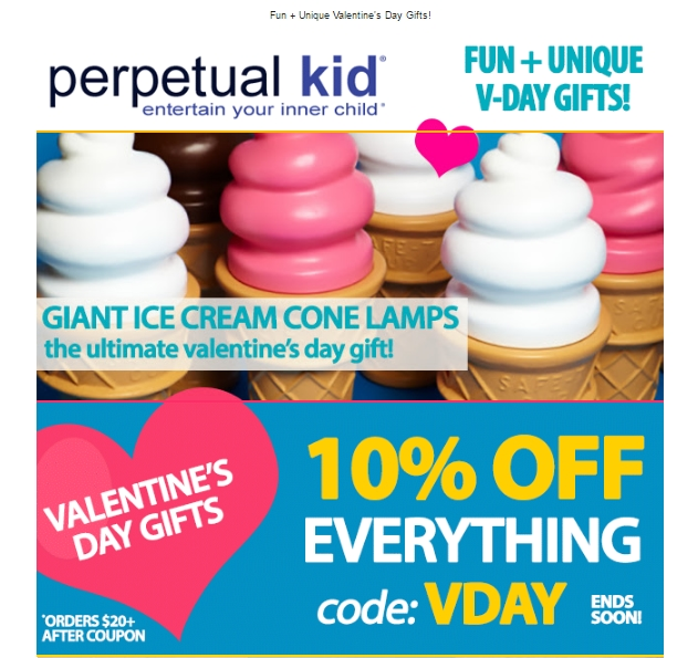 Perpetual Kid Coupon website view Perpetual Kid is a site that offers entertaining gifts that are unique and fun, meant to entertain your inner child. You can pick up a Stinky Candle, which has smells such as pepperoni pizza, or even burritos!