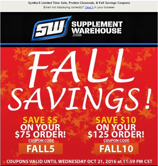 Supplement warehouse discount coupons