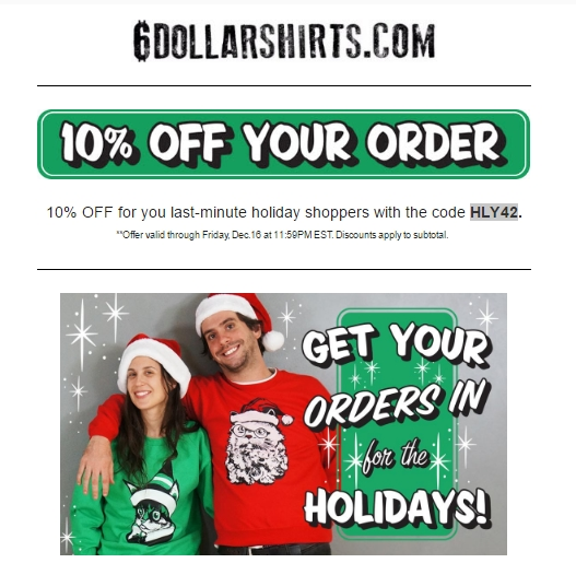 Redeem discount coupon 6 dollar shirts