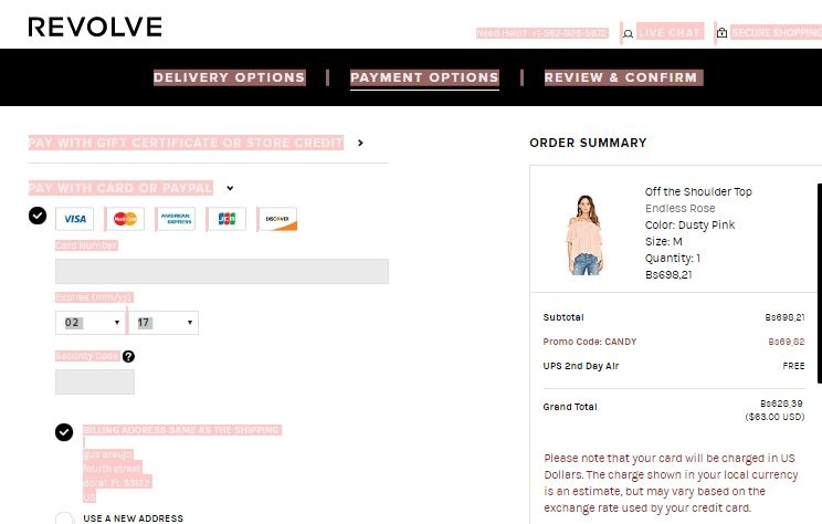 3. If you have a competitor's coupon lying around, Revolve will accept it most of the time and match the discount when you checkout. 4. Revolve promo codes are easy to apply, but you'll have to complete your shopping and begin the checkout process to add one. After filling out the shipping and delivery steps, the payment page pops up.