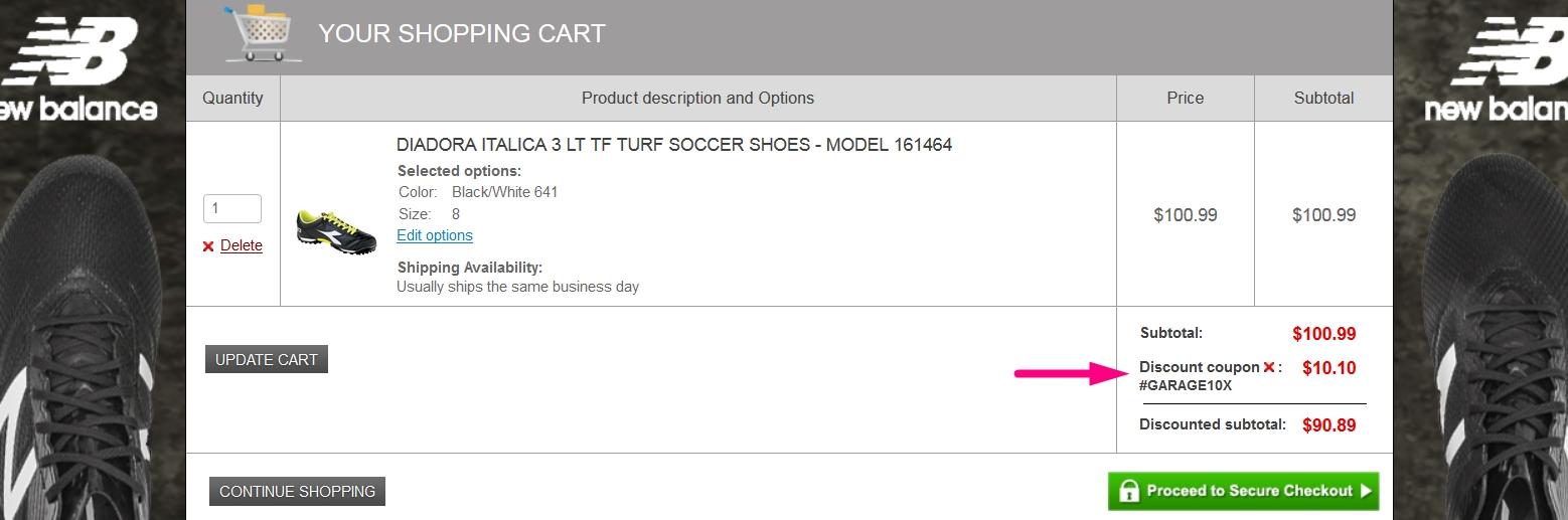 Soccer garage discount coupon