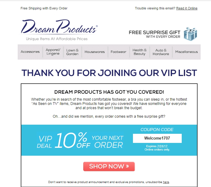 Dream products coupon code