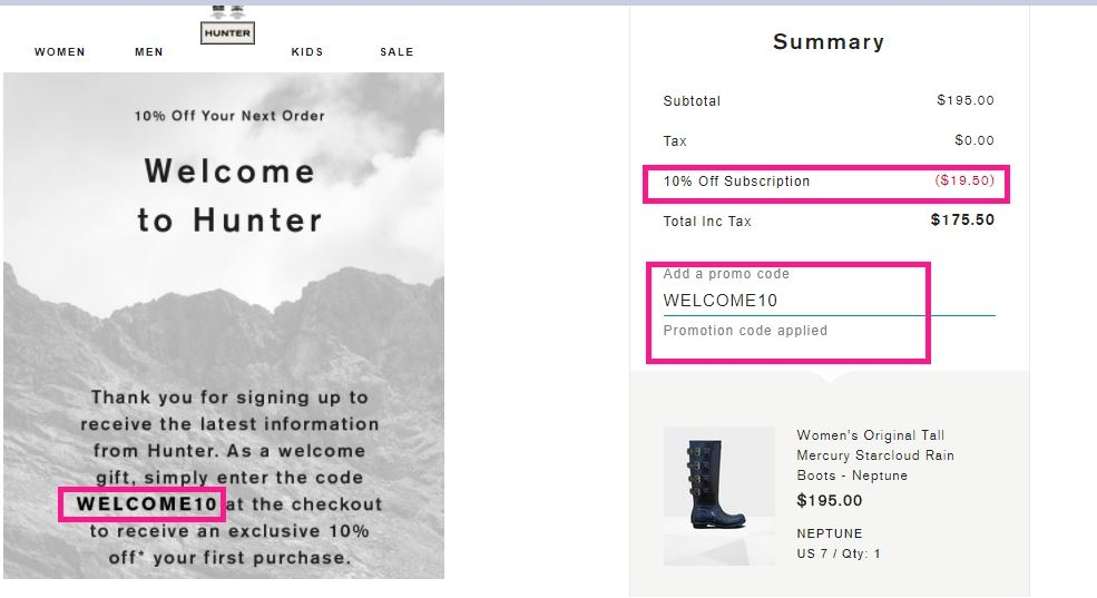 Hunter Boots Promo Codes for November, Save with 8 active Hunter Boots promo codes, coupons, and free shipping deals. 🔥 Today's Top Deal: $13 Off Unisex Original Mouline College Knitted Socks: Ocean Blue. On average, shoppers save $32 using Hunter Boots coupons from orimono.ga