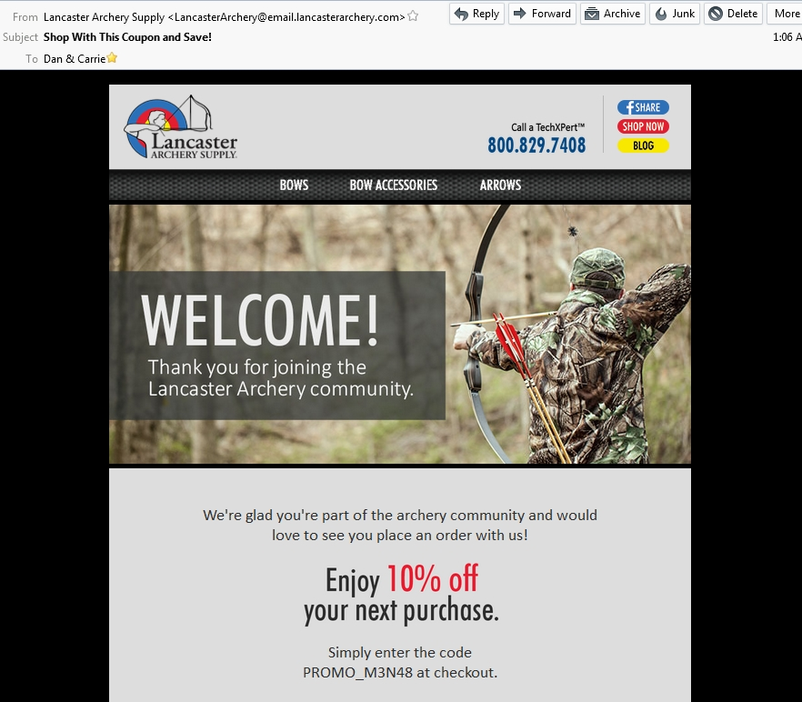 Lancaster archery coupon code 2018
