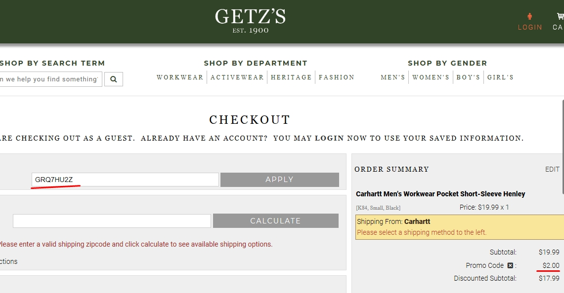 Getzs coupon code