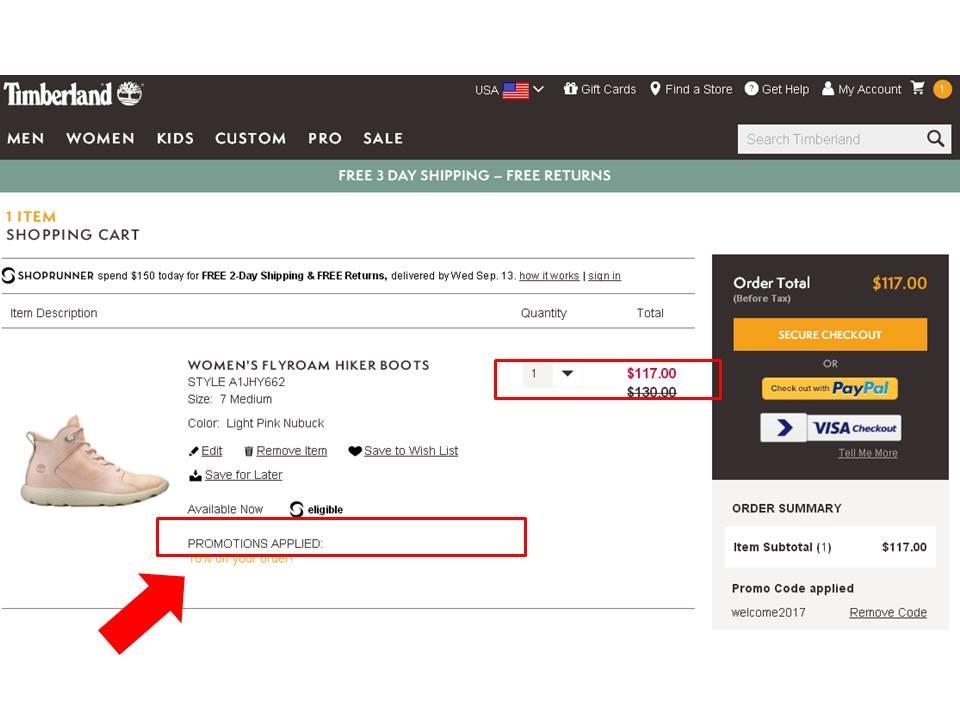 Timberland website promo code