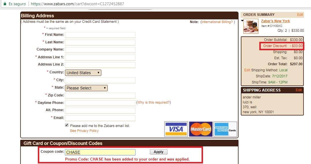 Zabars coupon code