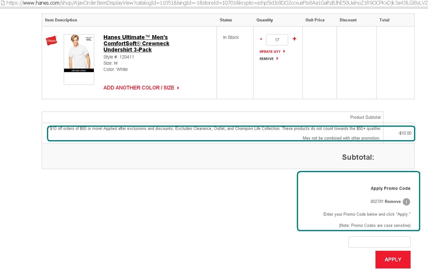 Hanes.com coupon code