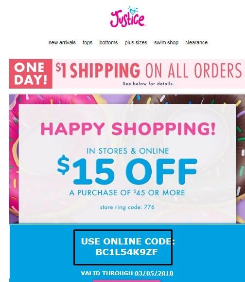 Justice.com coupon code