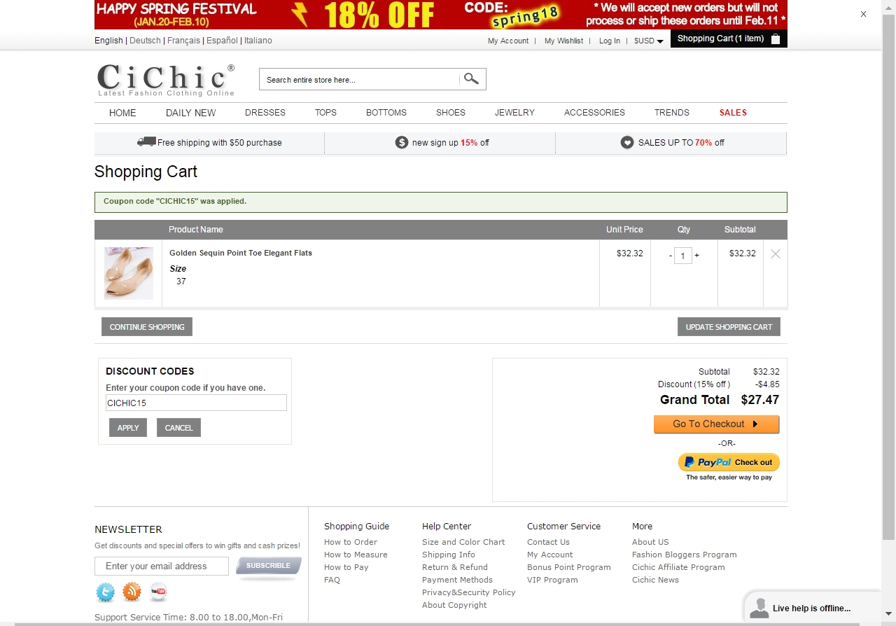 Cichic coupon code
