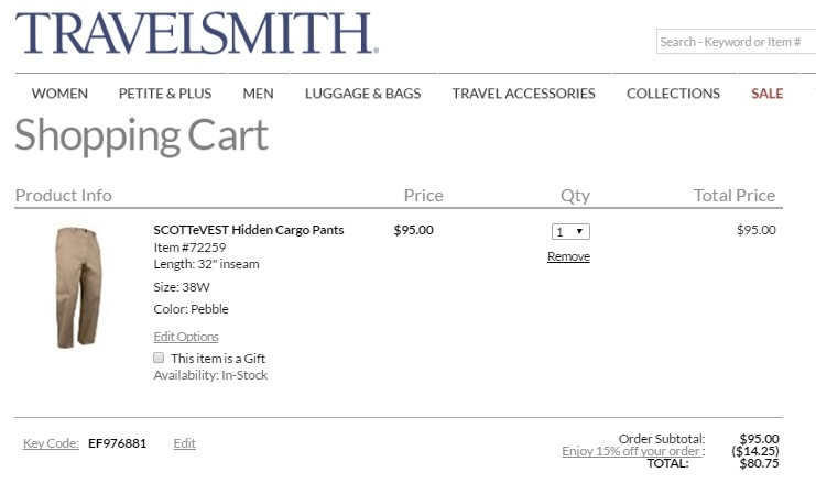 TravelSmith Coupon, Nov 30% Off + 6 more Codes. 30% off TravelSmith Coupons All Active TravelSmith Promo Codes & Coupons - Up To 30% off in November From travel clothing and accessories to the perfect luggage set, if you want to make sure that you have everything you need for your next vacation, you should head on over to TravelSmith.