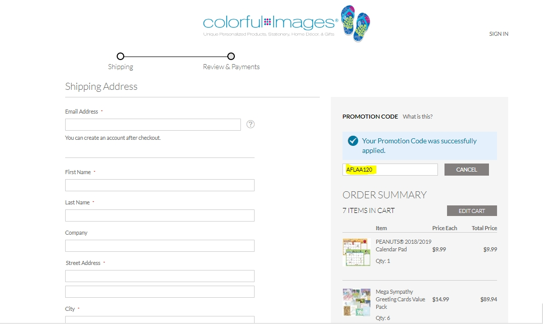 Coupon code for colorful images
