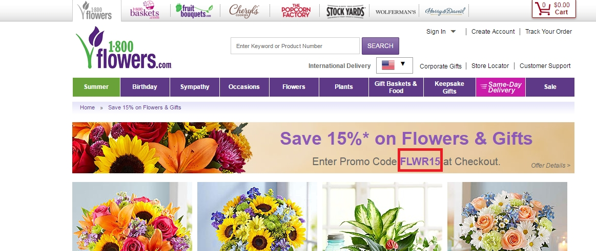 1800flowers.com coupon code