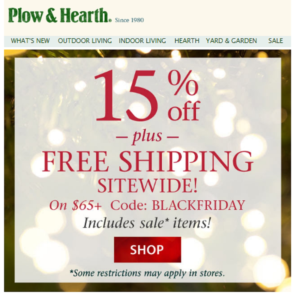 Try Free Shipping Plus Earn A $15 Reward Card On Any Purchase Of $85 or More at Plow % Verified Coupons · + Coupons Available · Online Coupon Codes Free.
