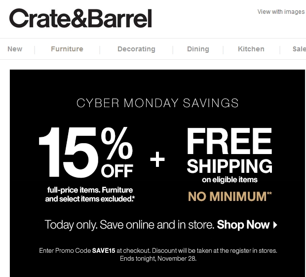 Crate and barrel free shipping coupon code