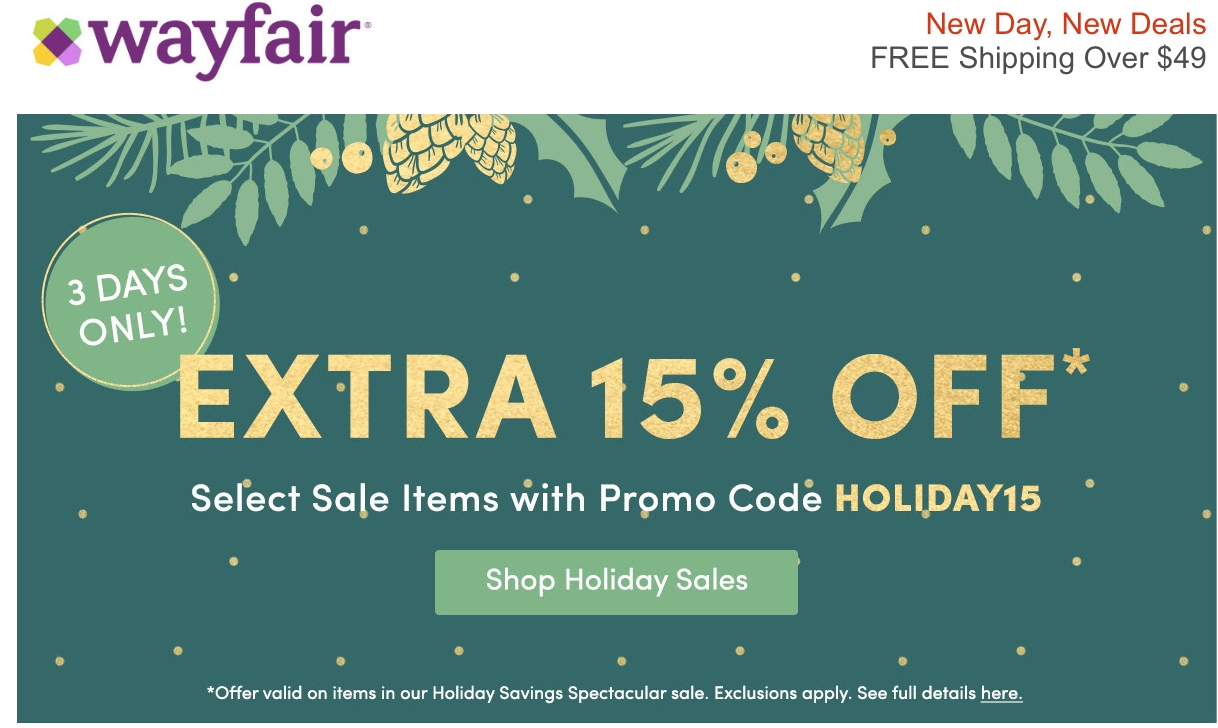 Wayfair coupon code 10