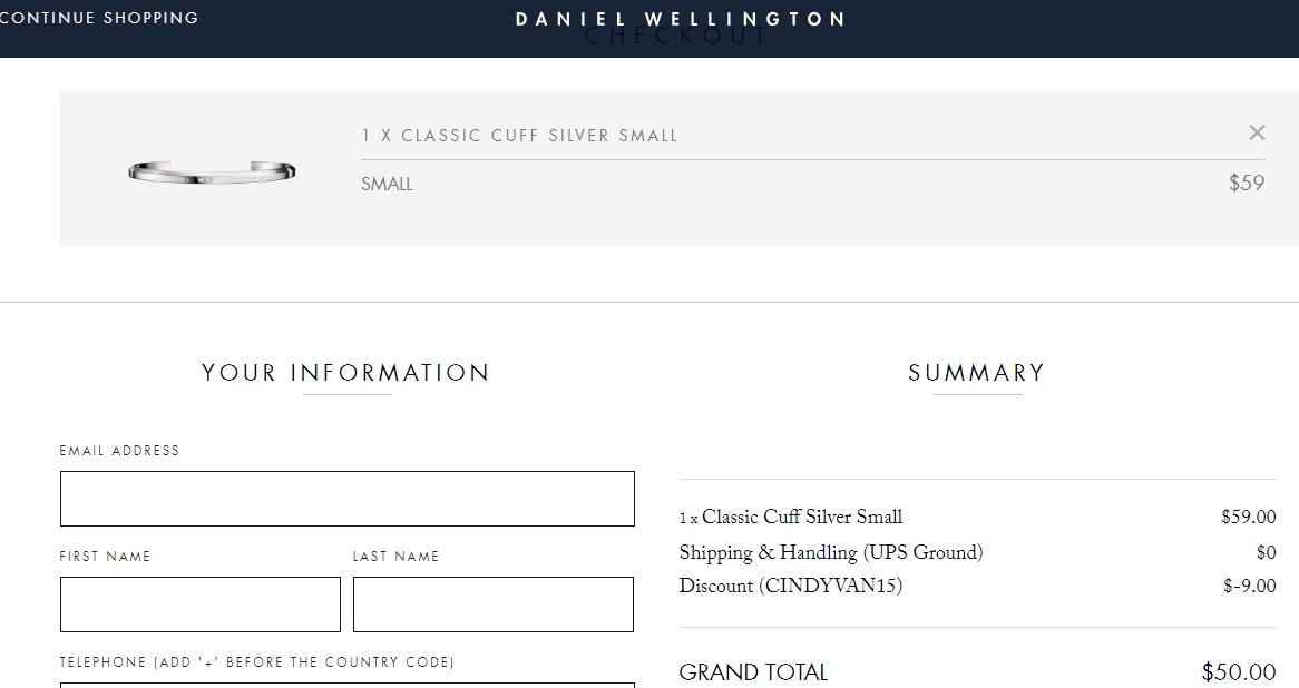Daniel wellington coupon code 50