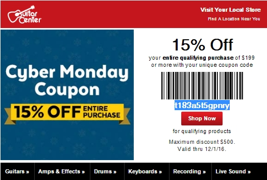 40 off guitar center coupon code save 20 in dec w promo code. Black Bedroom Furniture Sets. Home Design Ideas