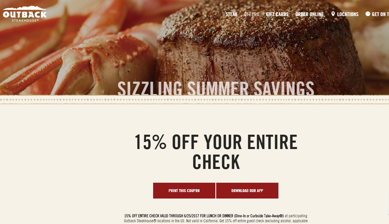 Outback steakhouse coupon codes