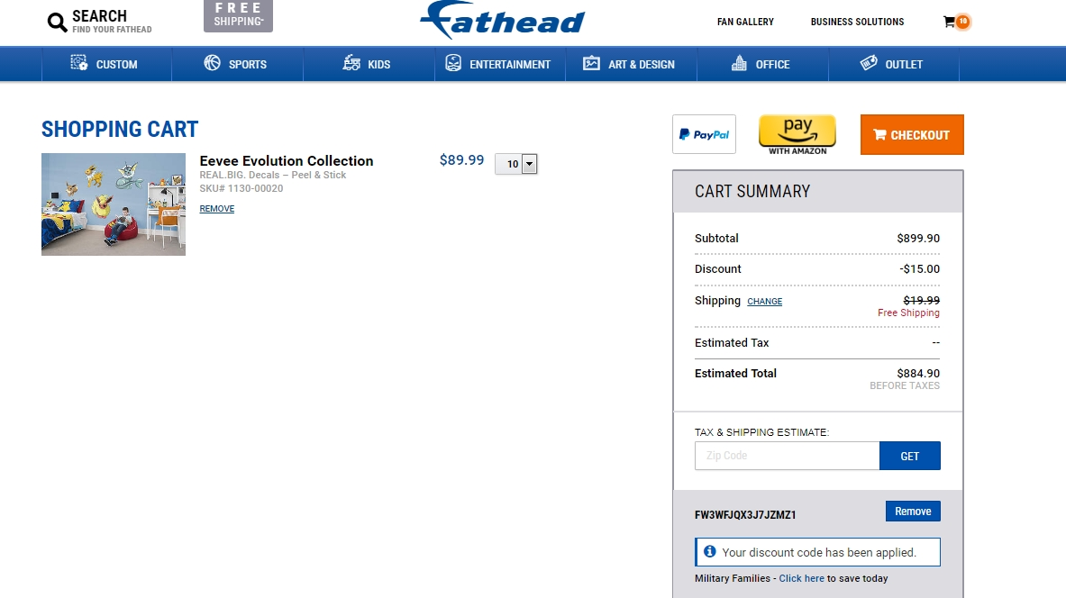 Fathead discount coupon