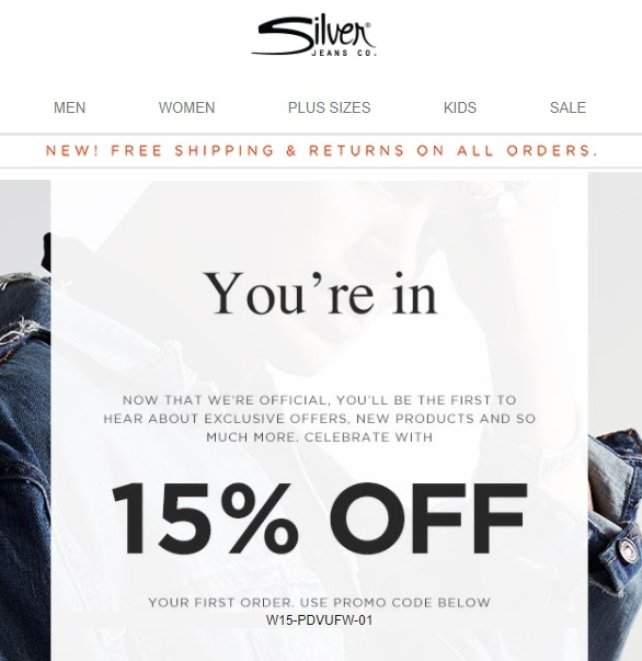 Silver jeans coupon code canada