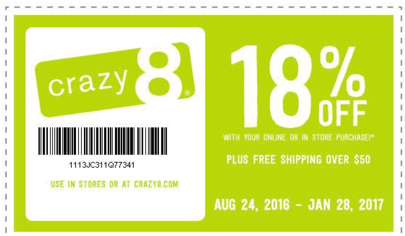 Crazy 8 coupon 20 off 2018