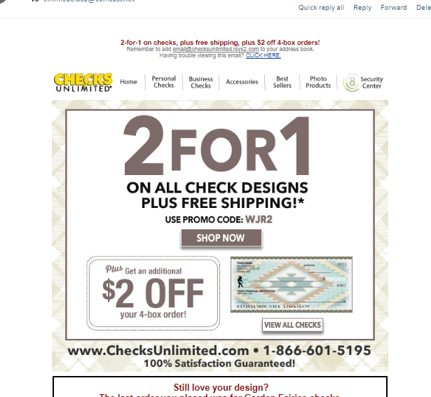 Checks Unlimited is one of the nation's top direct check manufacturers. The company features over 70 personal check designs plus a full line of address labels, checkbook covers, business checks and more. Use a Checks Unlimited offer code to save on your next .