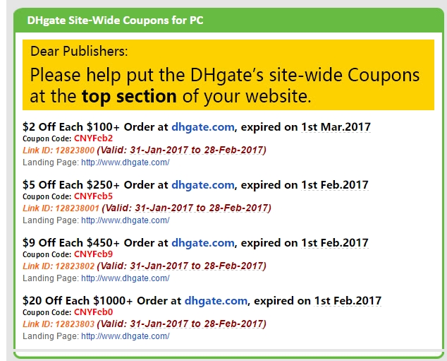 Dhgate discount coupons