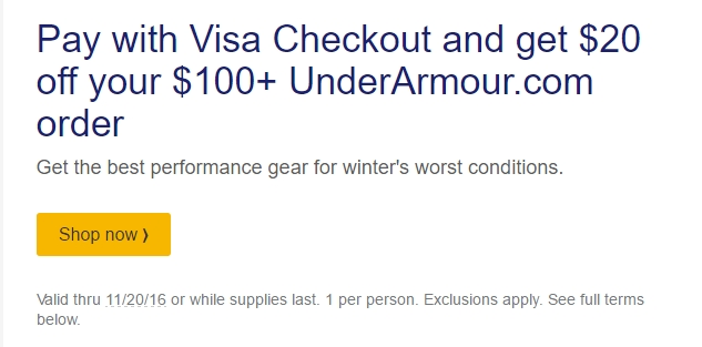 Under armour coupon code visa checkout