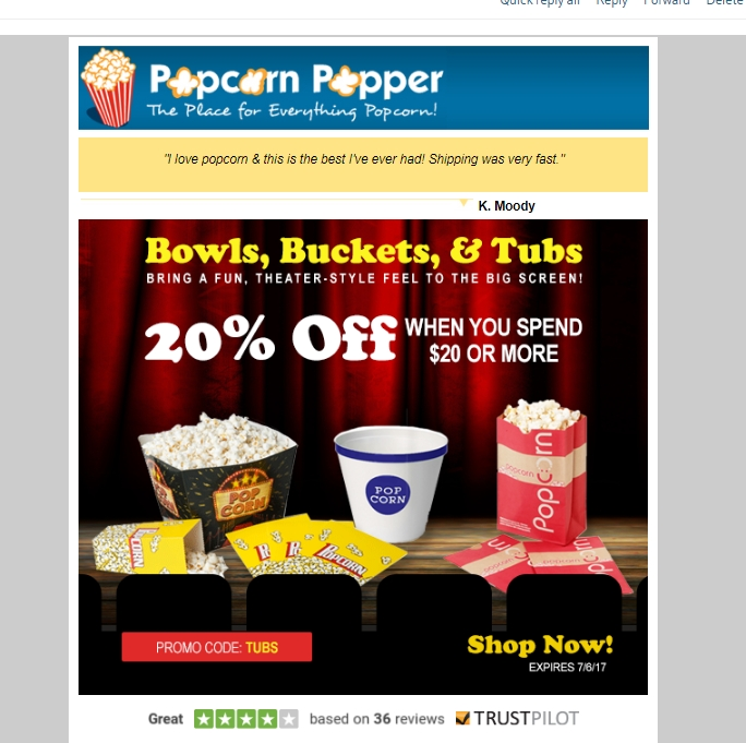Discount coupons poppers