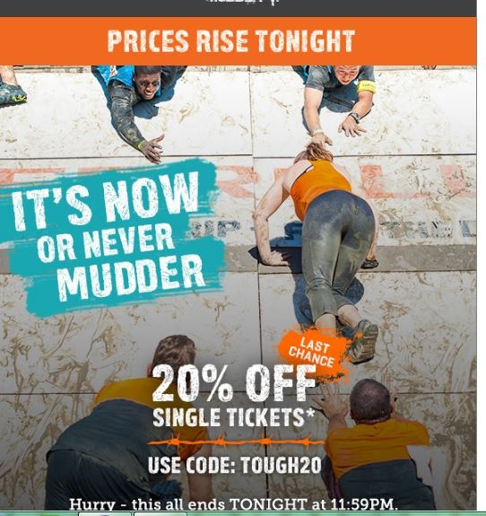Details: Get access to any thee North American Tough Mudder Full or Tough Mudder Half events with a Regional Pass for just $ Up to 60% less than event day prices. Up to 60% less than event day prices.